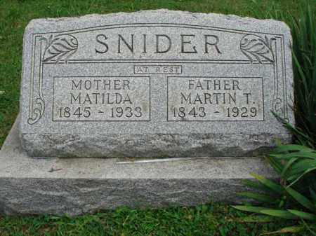 SNIDER, MARTIN T. - Fairfield County, Ohio | MARTIN T. SNIDER - Ohio Gravestone Photos