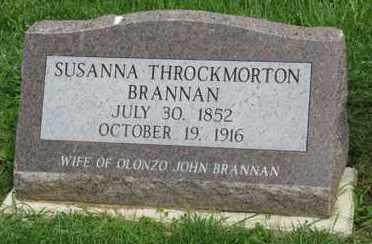 THROCKMORTON BRANNAN, SUSANNA - Fayette County, Ohio | SUSANNA THROCKMORTON BRANNAN - Ohio Gravestone Photos
