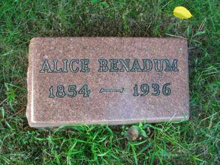 BENADUM, ALICE - Franklin County, Ohio | ALICE BENADUM - Ohio Gravestone Photos