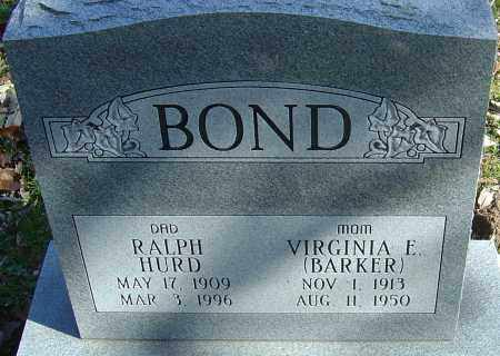 BARKER BOND, VIRGINIA ELIZABETH - Franklin County, Ohio | VIRGINIA ELIZABETH BARKER BOND - Ohio Gravestone Photos