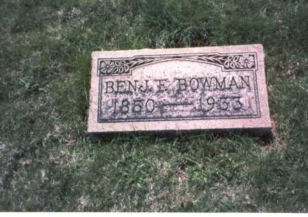 BOWMAN, BENJAMIN E - Franklin County, Ohio   BENJAMIN E BOWMAN - Ohio Gravestone Photos