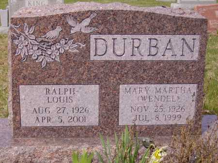 WENDEL DURBAN, MARY MARTHA - Franklin County, Ohio | MARY MARTHA WENDEL DURBAN - Ohio Gravestone Photos