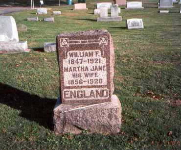 ENGLAND, MARTHA JANE - Franklin County, Ohio | MARTHA JANE ENGLAND - Ohio Gravestone Photos
