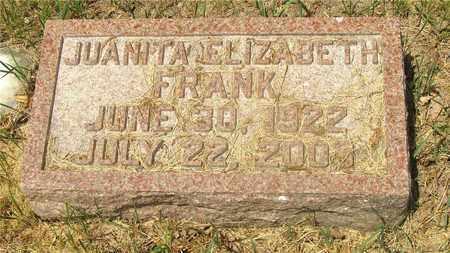 FRANK, JUANITA ELIZABETH - Franklin County, Ohio | JUANITA ELIZABETH FRANK - Ohio Gravestone Photos