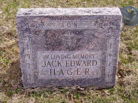 HAGER, JACK EDWARD - Franklin County, Ohio | JACK EDWARD HAGER - Ohio Gravestone Photos