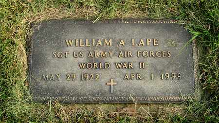 LAPE, WILLIAM A. - Franklin County, Ohio | WILLIAM A. LAPE - Ohio Gravestone Photos