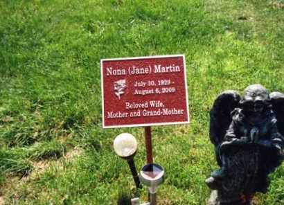 MARTIN, NONA (JANE) - Franklin County, Ohio | NONA (JANE) MARTIN - Ohio Gravestone Photos