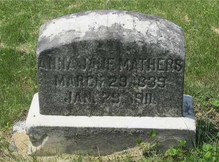 MATHERS, ANNA JANE - Franklin County, Ohio | ANNA JANE MATHERS - Ohio Gravestone Photos