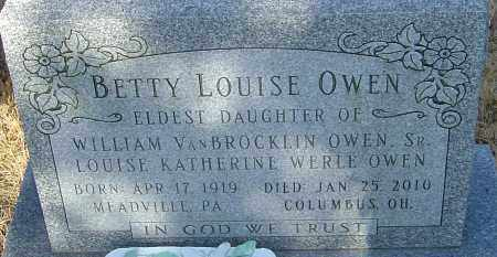 OWEN, BETTY LOUISE - Franklin County, Ohio | BETTY LOUISE OWEN - Ohio Gravestone Photos
