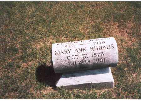 RHOADS, MARY ANN - Franklin County, Ohio | MARY ANN RHOADS - Ohio Gravestone Photos