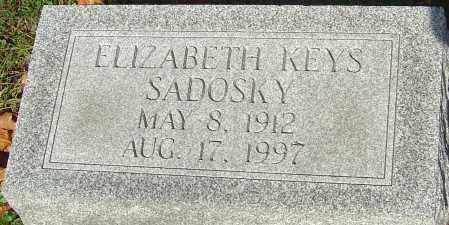 KEYS SADOSKY, ELIZABETH - Franklin County, Ohio | ELIZABETH KEYS SADOSKY - Ohio Gravestone Photos