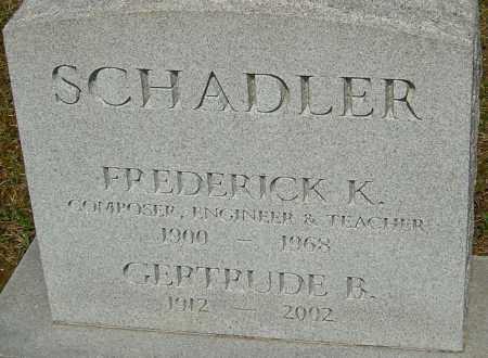 SCHADLER, GERTRUDE B - Franklin County, Ohio | GERTRUDE B SCHADLER - Ohio Gravestone Photos