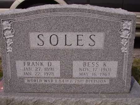 SOLES, BESS K. - Franklin County, Ohio | BESS K. SOLES - Ohio Gravestone Photos