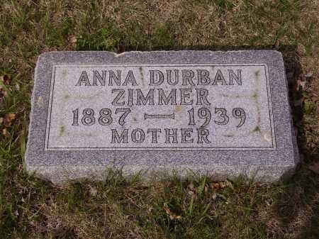 DURBAN ZIMMER, ANNA - Franklin County, Ohio | ANNA DURBAN ZIMMER - Ohio Gravestone Photos