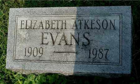 EVANS, ELIZABETH ATKESON - Gallia County, Ohio | ELIZABETH ATKESON EVANS - Ohio Gravestone Photos