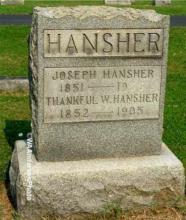 HANSHER, THANKFUL W - Gallia County, Ohio | THANKFUL W HANSHER - Ohio Gravestone Photos