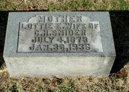SNIDER, LOTTIE E - Gallia County, Ohio | LOTTIE E SNIDER - Ohio Gravestone Photos