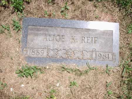 REIF, ALICE - Hamilton County, Ohio | ALICE REIF - Ohio Gravestone Photos