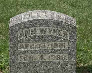 WYKES, ANN - Hardin County, Ohio | ANN WYKES - Ohio Gravestone Photos
