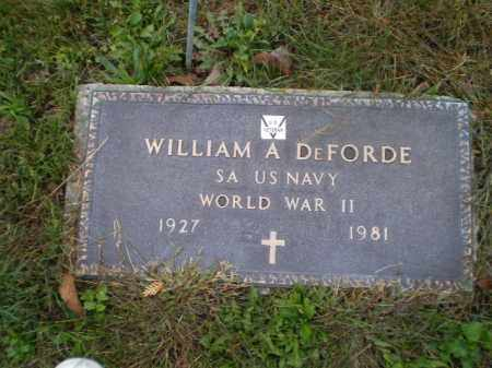 DEFORDE, WILLIAM A - Harrison County, Ohio | WILLIAM A DEFORDE - Ohio Gravestone Photos