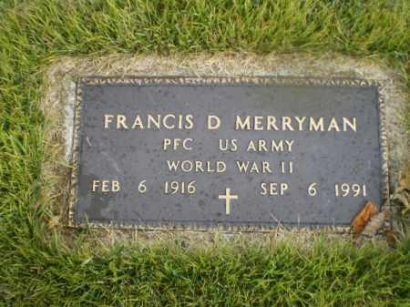 "MERRYMAN, FRANCIS D. ""TANK"" - Harrison County, Ohio | FRANCIS D. ""TANK"" MERRYMAN - Ohio Gravestone Photos"