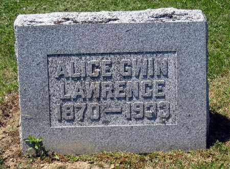 GWIN LAWRENCE, ALICE - Holmes County, Ohio | ALICE GWIN LAWRENCE - Ohio Gravestone Photos