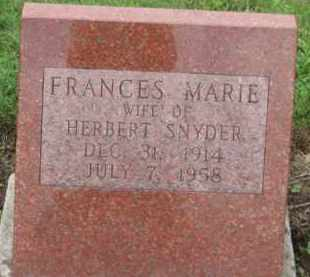 SNYDER, FRANCES MARIE - Holmes County, Ohio | FRANCES MARIE SNYDER - Ohio Gravestone Photos