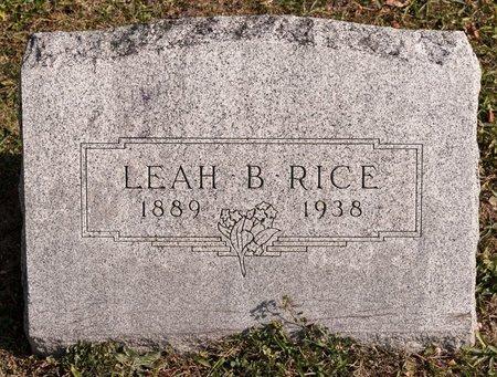 RICE, LEAH B - Huron County, Ohio   LEAH B RICE - Ohio Gravestone Photos