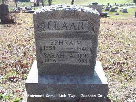 NANCE CLAAR, SARAH ALICE - Jackson County, Ohio | SARAH ALICE NANCE CLAAR - Ohio Gravestone Photos