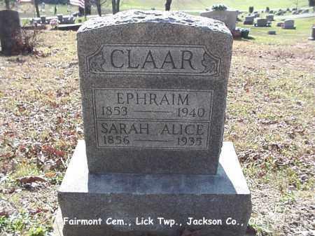 CLAAR, SARAH ALICE - Jackson County, Ohio | SARAH ALICE CLAAR - Ohio Gravestone Photos