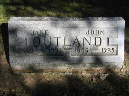 OUTLAND, JANE - Logan County, Ohio | JANE OUTLAND - Ohio Gravestone Photos