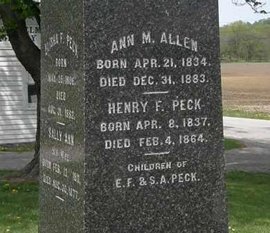 PECK ALLEN, ANN M. - Lorain County, Ohio | ANN M. PECK ALLEN - Ohio Gravestone Photos