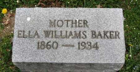 WILLIAMS BAKER, ELLA - Lorain County, Ohio | ELLA WILLIAMS BAKER - Ohio Gravestone Photos