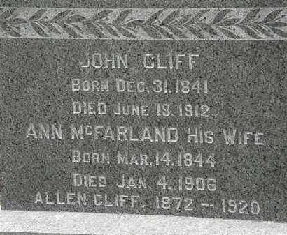 CLIFF, JOHN - Lorain County, Ohio | JOHN CLIFF - Ohio Gravestone Photos