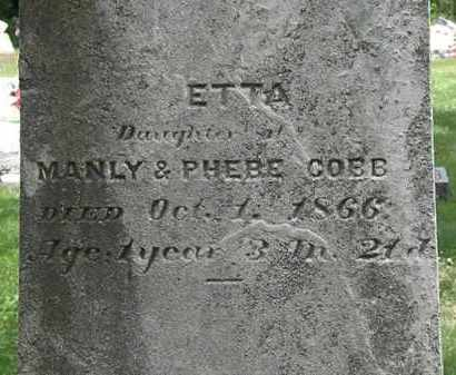 COBB, ETTA - Lorain County, Ohio | ETTA COBB - Ohio Gravestone Photos