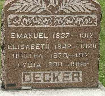 DECKER, ELISABETH - Lorain County, Ohio | ELISABETH DECKER - Ohio Gravestone Photos