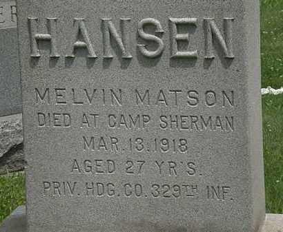 HANSON, MELVIN MATSON - Lorain County, Ohio | MELVIN MATSON HANSON - Ohio Gravestone Photos