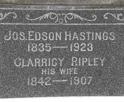 HASTINGS, JOS. EDISON - Lorain County, Ohio | JOS. EDISON HASTINGS - Ohio Gravestone Photos
