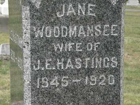 WOODMANSEE HASTINGS, JANE - Lorain County, Ohio | JANE WOODMANSEE HASTINGS - Ohio Gravestone Photos