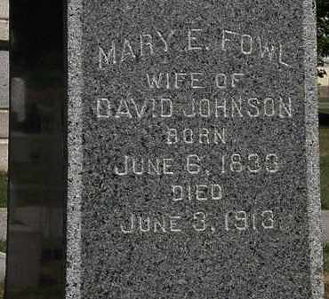 FOWL JOHNSON, MARY E. - Lorain County, Ohio | MARY E. FOWL JOHNSON - Ohio Gravestone Photos