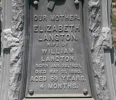 LANGTON, ELIZABETH - Lorain County, Ohio | ELIZABETH LANGTON - Ohio Gravestone Photos