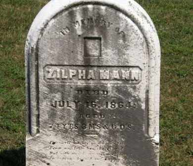 MANN, ZILPHA - Lorain County, Ohio | ZILPHA MANN - Ohio Gravestone Photos