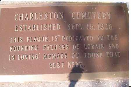 PLAQUE, CHARLESTON CEMETERY - Lorain County, Ohio | CHARLESTON CEMETERY PLAQUE - Ohio Gravestone Photos