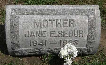 SEGUR, JANE E. - Lorain County, Ohio | JANE E. SEGUR - Ohio Gravestone Photos