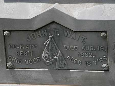 WAIT, JOHN T. - Lorain County, Ohio | JOHN T. WAIT - Ohio Gravestone Photos