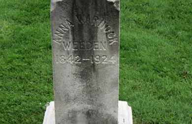 WEEDEN, ANN - Lorain County, Ohio | ANN WEEDEN - Ohio Gravestone Photos