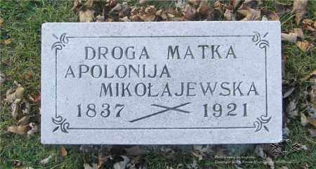 MIKOLAJEWSKI, APOLONIJA - Lucas County, Ohio | APOLONIJA MIKOLAJEWSKI - Ohio Gravestone Photos