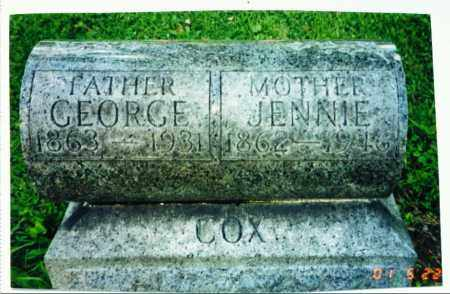 COX, JENNIE - Lucas County, Ohio | JENNIE COX - Ohio Gravestone Photos