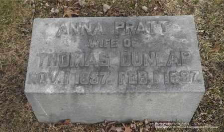 PRATT DUNLAP, ANNA - Lucas County, Ohio | ANNA PRATT DUNLAP - Ohio Gravestone Photos
