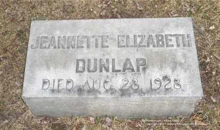 DUNLAP, JEANNETTE ELIZABETH - Lucas County, Ohio | JEANNETTE ELIZABETH DUNLAP - Ohio Gravestone Photos